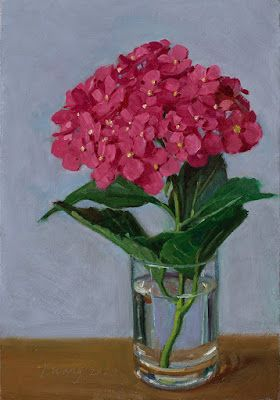 Hydrangea flower original oil painting daily painting a day flora