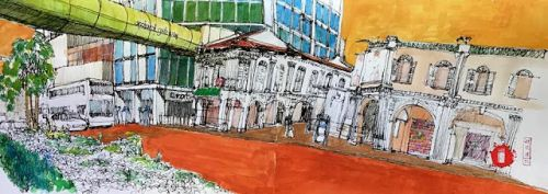 Last sketchwalk for the year 2018 for the Urbansketchers Singapore