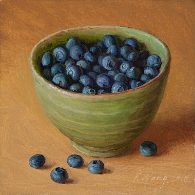 Blueberries in a bowl painting original painting for kitchen