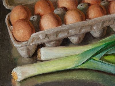 Eggs and leeks still life painting for kitchen daily painting a day