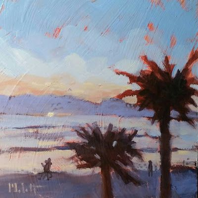 Beach Walk Florida Sunrise Painting Original Art Heidi Malott
