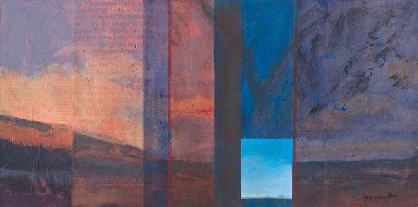 'always be my home' contemporary mixed media landscape by santa fe artist dawn chandler