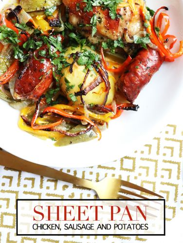 Sheet pan chicken, sausage and peppers
