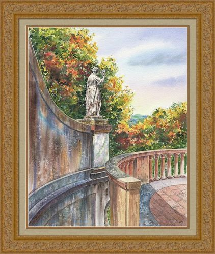 Boboli Gardens Statue Florence Italy Watercolor Painting
