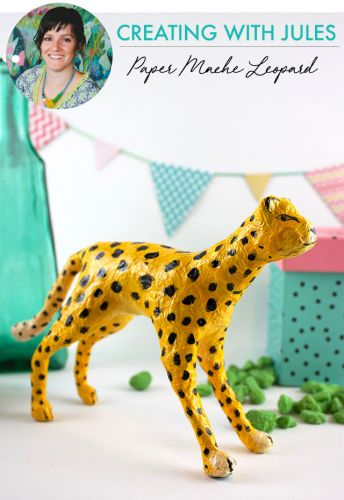 Creating with Jules: paper mache leopard