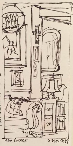 """""""The Corner"""" pen & ink 6 x 3 Daily Drawing 66"""