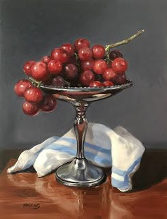 Red Grapes on Silver Pedestal Plate