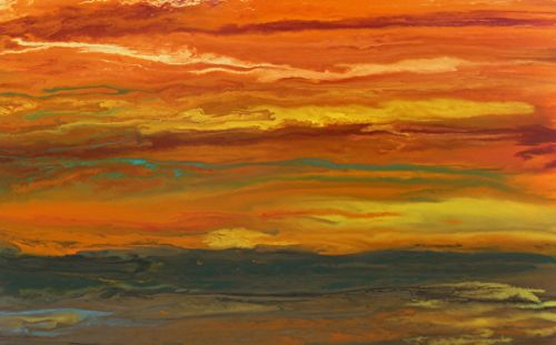 "Abstract Landscape,Sunset Art Painting ""Sky on Fire-Reflected"" by Colorado Contemporary Artist Kimberly Conrad"