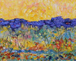 "Original Palette Knife Landscape Painting ""Renewal"" by Colorado Impressionist Judith Babcock"