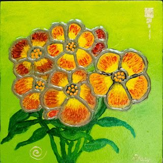 Contemporary Mixed Media Flower Art Painting