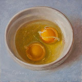 Egg in a bowl still life oil painting for kitchen small daily painting a day