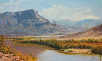 """Western Landscape Painting, Fine Art, Utah, Moab, Mountains,""""River to Moab"""" by Colorado Artist Nancee Jean Busse, Painter of the American West"""
