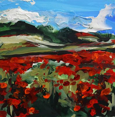 "Italian Landscape, Tuscany, Contemporary Painting, Mixed Media, Art For Sale ""Italian Fields"" by Santa Fe Contemporary Artist Sandra Duran Wilson"