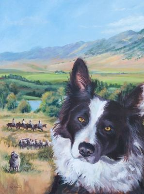 """Original Landscape, Dog Painting """"A Dog you Can Count On"""" by Colorado Artist Nancee Jean Busse, Painter of the America West"""