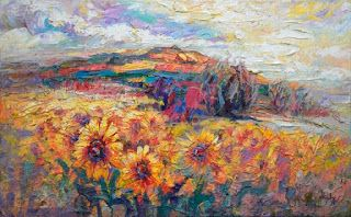 """New """"Sunny Plateau"""" Palette Knife Sunflower Painting by Niki Gulley"""