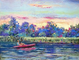 Kayak Morning Cruise, New Contemporary Landscape Painting by Sheri Jones