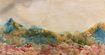"""Abstract Landscape, Mountains, Contemporary Art, Mixed Media """"A VIEW OF THE MOUNTAIN"""" by Florida Contemporary Artist Mary Ann Ziegler"""