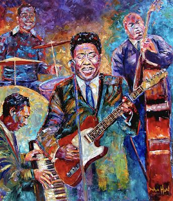 "Abstract Jazz Painting Music Art Paintings ""Muddy Waters And His Band"" By Debra Hurd"