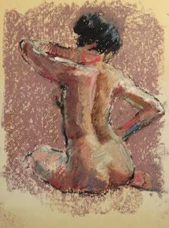 Nude on Lavender-Grey - oil pastel drawing of a nude