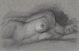 Female nude figure in repose