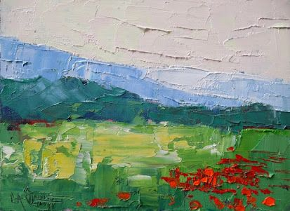 Poppies and Mountains Oil Painting, Daily Painting, Small Oil Painting, Appalachian Wall Decor