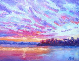 Lake Granbury Sunrise, New Contemporary Landscape Painting by Sheri Jones