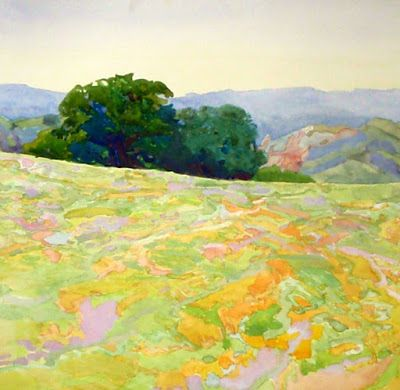 Going Softly to Gold Plein Air Watercolor painted on Mount Diablo
