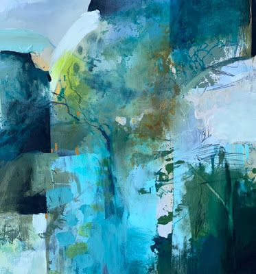 """Contemporary Abstract Landscape Art Painting """"Forest Secrets"""" by Intuitive Artist Joan Fullerton"""
