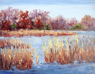 Along Water's Edge, New Contemporary Landscape Painting by Sheri Jones