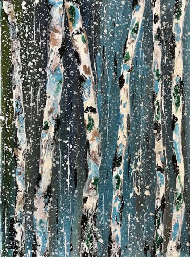"Aspen Tree Painting,Birch Trees, Abstract Landscape,Winter Scene ""Saplings in Winter IV-Winter Aspens 2018 Series"" by Colorado Contemporary Landscape Artist Kimberly Conrad"