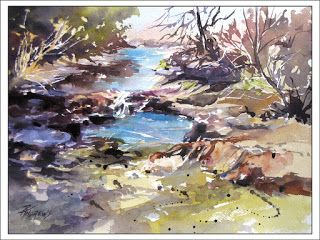 Watering Hole..Watercolor..Texas Artist..Rae Andrews