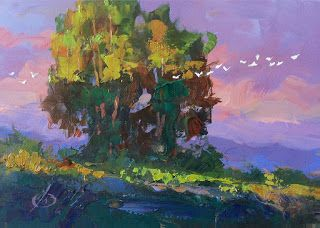 SUNSET, BIRDS, TREES, SKY by TOM BROWN