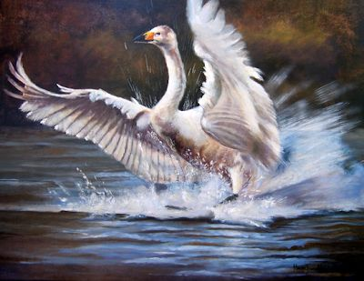 "Original Swan Painting ""Perfect Landing"" by Colorado Artist Nancee Jean Busse, Painter of the American West"