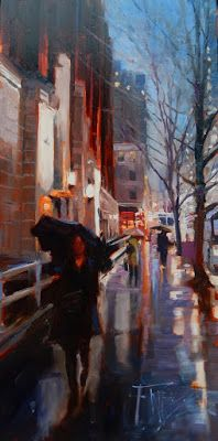 """Seattle Rain"" Seattle City, oil painting by Robin Weiss"