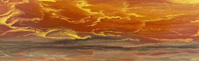 "Abstract Landscape,Sunrise, Sunset Art Painting ""Reflecting a Blazing Sky IV"" by Colorado Contemporary Artist Kimberly Conrad"