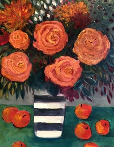 "Contemporary Abstract Bold Expressive Still Life Flower Art Painting ""APRICOT ROSES"" by Santa Fe Artist Annie O'Brien Gonzales"