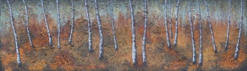 """Contemporary Abstract Landscape Painting, Patina """"Rusty Aspens"""" by Contemporary Artist Brian Billow"""