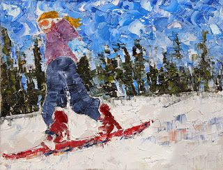 "Skier, Ski Painting, Winter Landscape,Snow ""Snowboard Sal"" By Colorado Impressionist Judith Babcock"
