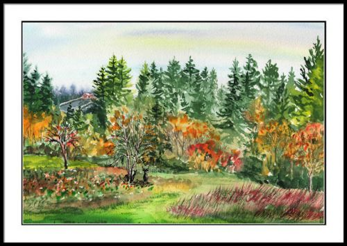 State Of Washington Fall Impressionistic Watercolor Landscape