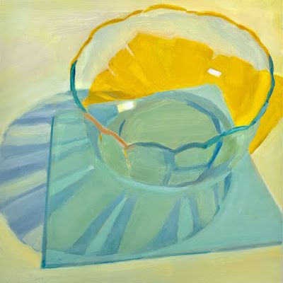 Clear Glass Bowl on Blue and Yellow Papers
