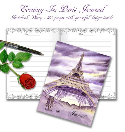 Watercolor Cover Journal - Evening In Paris