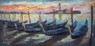 "New ""Gondola Sunrise"" by Contemporary Impressionist Niki Gulley"