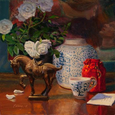 Still life oil painting horse statue ceramic oriental roses flower contemporary realism original