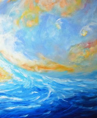 "Contemporary Abstract Seascape Painting ""Reckless Enthusiasm"" by Contemporary International Artist Arrachme"
