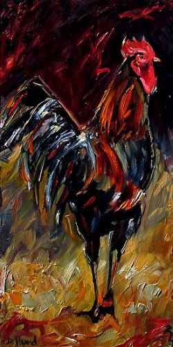 "Rooster Art Original Oil Painting Farm Animal Paintings Fine Art ""Proud Mark"" by Debra Hurd"