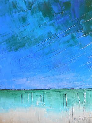 Seascape Painting, Abstract Art, Small Oil Painting, Palette Knife Artwork, Blue Painting