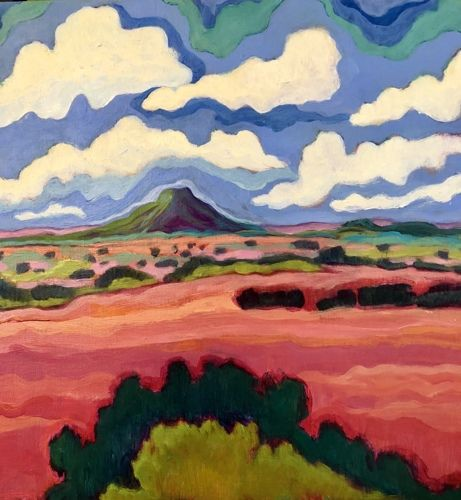 """New Mexico, Contemporary Abstract Bold Expressive Landscape Art Painting """"Pedernal Summer Clouds"""" by Santa Fe Artist Annie O'Brien Gonzales"""