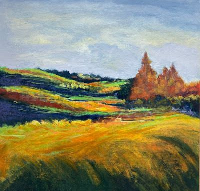 "Contemporary Landscape Art, Abstract Painting, Modern Art ""PASTORAL PEACE"" by Portland Contemporary Artist Liz Thoresen"