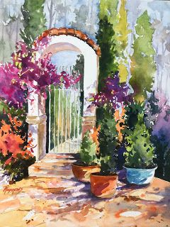 How Does Your Garden Grow?.Watercolor..Texas Artist..Rae Andrews