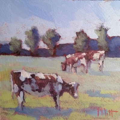 Cow Landscape Pasture Original Daily Oil Painting